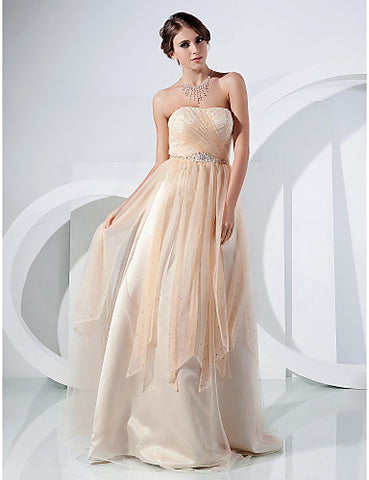 A-line Strapless Floor-length Tulle Evening/Prom Dress