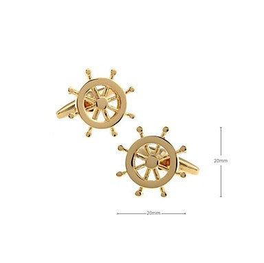 Art Design Wheel Rudder Fishing Navy Sailor Boat Sea Cuff Links Gold Cufflinks