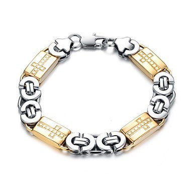 Fashion 22 Cm Mem's Silver Titanium Steel Bracelet (Silver + Gold) (1 Pc)