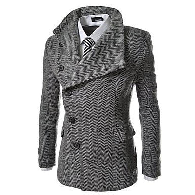 Men's Lapel Irregular Design Of Single Breasted Coat