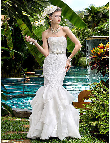 Fit and Flare Strapless Satin Floor-length Wedding Dresses
