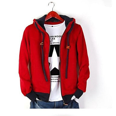 Men's Korean Fashion Casual Long Sleeve Hooded Outerwear