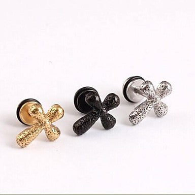 European (Cross) Titanium Steel Stud Earrings(Gold,Silver,Black) (1 Pc)