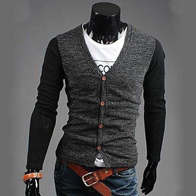 Men's V Neck Long Sleeve Knitwear Cardigan