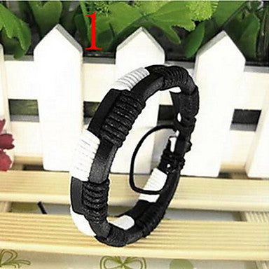 Classic Fashion Man-made 20cm Unisex Black Leather Leather Bracelet(Random Color)(1 Pc)