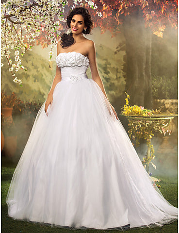 Princess Ball Gown Strapless Tulle And Lace Wedding Dress