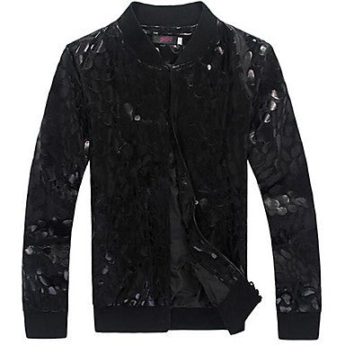 Men's Stand Collar Fashion Leisure Popular Animal Printed Long Sleeve Jacket