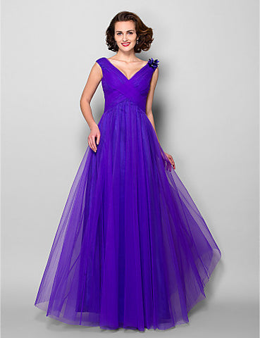 A-line/Princess V-neck Floor-length Tulle Mother of the Bride Dress