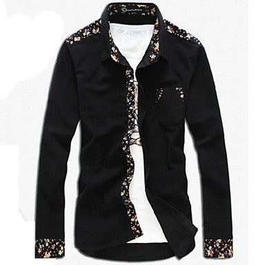 Men's Fashion Cotton Slim Floral Mosaic Long Sleeved Shirt