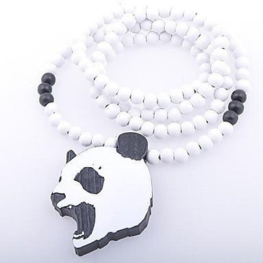 Panda Pattern Wood Necklace