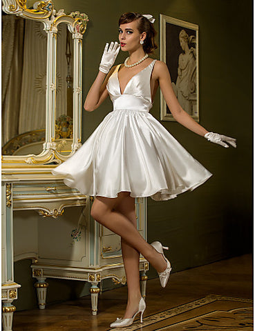 A-line V-neck Short/Mini Stretch Satin Wedding Dress (710788)