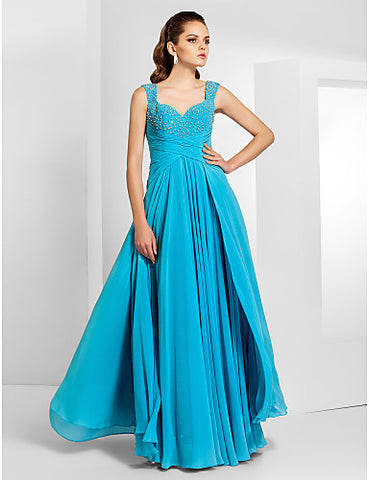 Sheath/Column Floor-length Chiffon Evening/Prom Dress With Straps