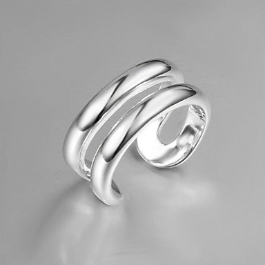 Fashion Double Annulus Men's Silver Silver Plated Cuff Ring(1 Pc)