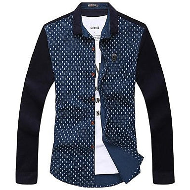 Men's Fashion Splicing Long Sleeve Shirts