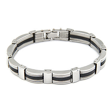 Men's Silver Plated Alloy Double-row Connected Bracelet