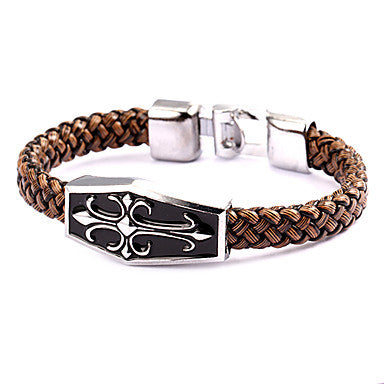 Punk Style Cross Coffin Brown Leather Bracelet(1 Pc)