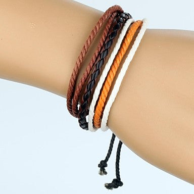 Adjustable Men's Leather Bracelet Very Cool Orange White Brown Rope Black And Brown Leather (1 Piece)