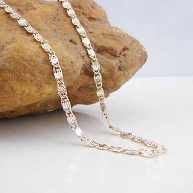 18K CC/585 Gold Plated Rose Gold Blade Copper Necklace 55CM