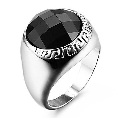 Famous Black Round Silver Stainless Steel Men's Ring