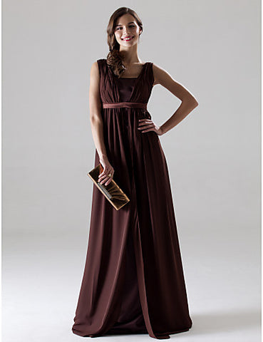 A-line V-neck Sleeveless Floor-length Chiffon Bridesmaid/Mother of the Bride Dress