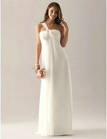 Bridesmaid Dress Floor Length Chiffon Over Elastic Satin Empire One Shoulder Party Dress