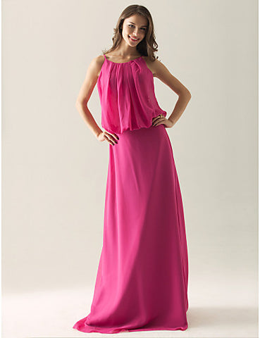 Sheath/ Column Spaghetti Straps Floor-length Chiffon Bridesmaid/ Wedding Party Dress