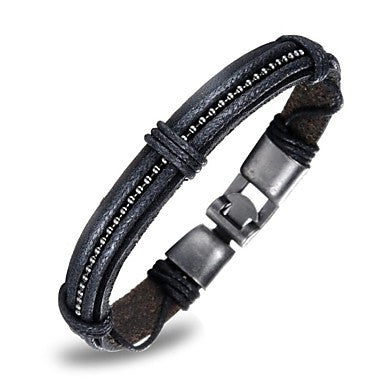 European Style Genuine Leather Bronze Alloy Buckle Men's Bracelet