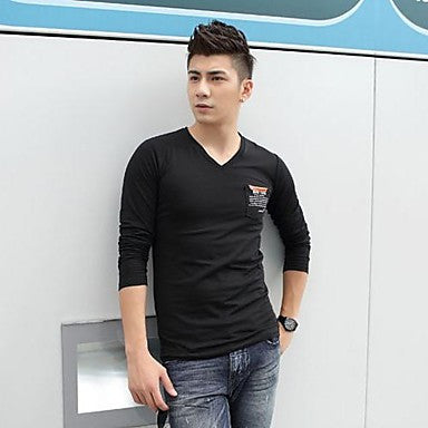 Men's V Collar Long Sleeve Cotton T Shirt