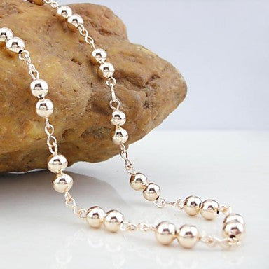 18K CC/585 Gold Plated Rose Gold beads Copper Necklace 55CM