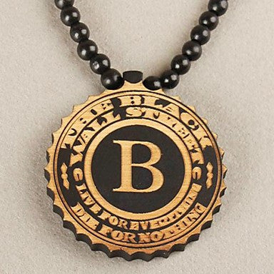 Word B Pattern Wood Necklace