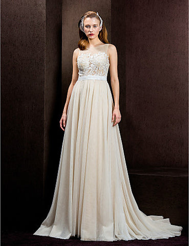A-line/Princess Jewel Court Train Tulle Wedding Dress (1798926)
