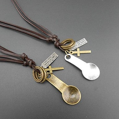 European Old Spoon Leather Pandant Necklace(1pc)
