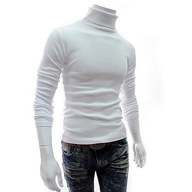 Men's New Korean Turnover Collar Sleeve Bottoming Sweaters Turtleneck Self-Cultivation