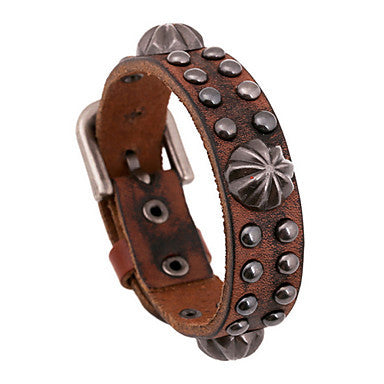 Classic 20cm Men's Black,Brown Leather Leather Bracelet(Black,Brown)(1 Pc)