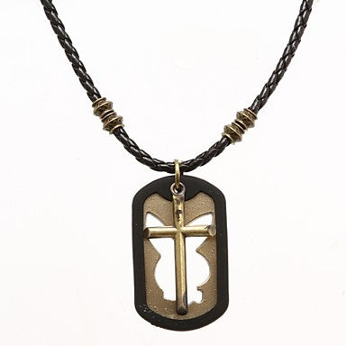 Punk Pierced Board (Cross) Black Leather Pendant Necklace (1 Pc)