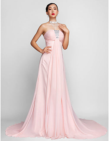 A-line/Princess Strapless Court Train Chiffon Evening Dress
