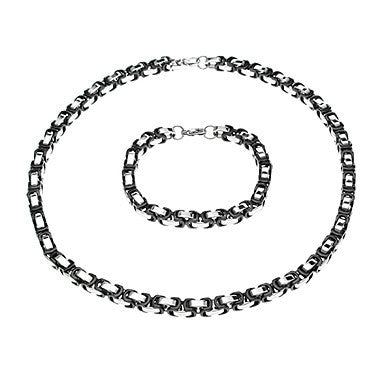 European Black Joint Silver Titanium Steel Chain Necklace (1 Pc)