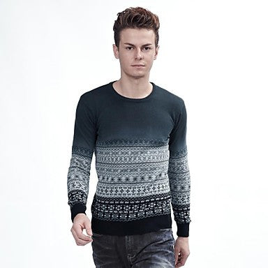 Men's Round Collar Ethnic Print Sweater