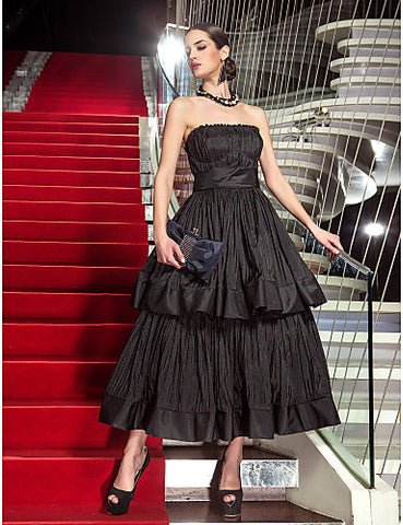 A-line Strapless Tea-length Taffeta Evening Dress inspired by Audrey Tautou at Cannes Film Festival
