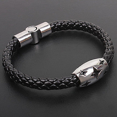 Fashion Men Stars Snake Handmade Twine Black Alloy Leather Chain&Link Bracelet(1 Pc)