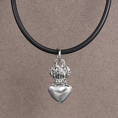 Fashion Stainless Steel Peach heart crown Pendant Necklace