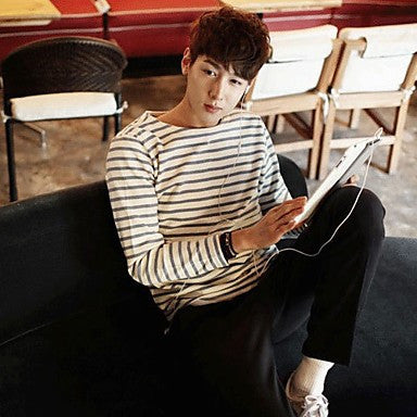 Men's Korea Style Round Collar Stripes Long Sleeve T-Shirt