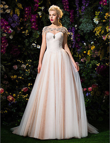 Ball Gown Jewel Court Train Tulle Wedding Dress (2310069)