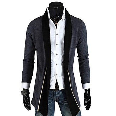 Men's New Hot Fashion No Buckle Swallowtail Long Sleeve Coat