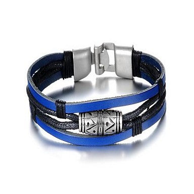 Fashion Men's Black and Blue Alloy Leather Bracelet(1 Pc)