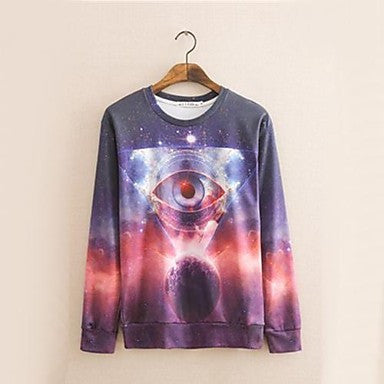 Men's Casual Fashion 3D Print Thick Long Sleeve Sweat Shirt