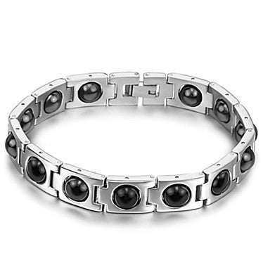 Brazil Black Gallstone Anti-fatigue Anti-radiation Men Care Magnetic Titanium Steel Bracelet