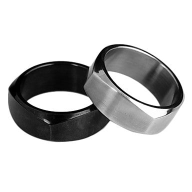Fashion Men's Multicolor Stainless Steel Band Ring(Black,Silver)(1 Pc)