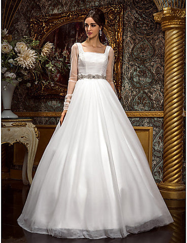 A-line Princess Square Floor-length Tulle Wedding Dress (612942)
