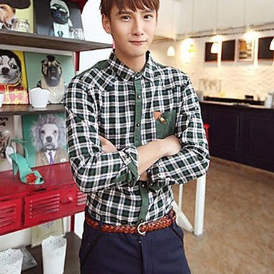 Men's Slim Lapel Check Casual Shirt